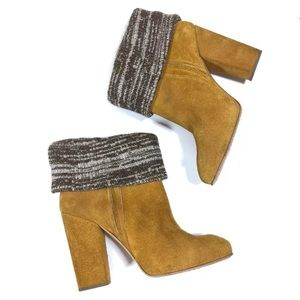Rachel Comey Sweater Cuff Suede Heeled Boots 11